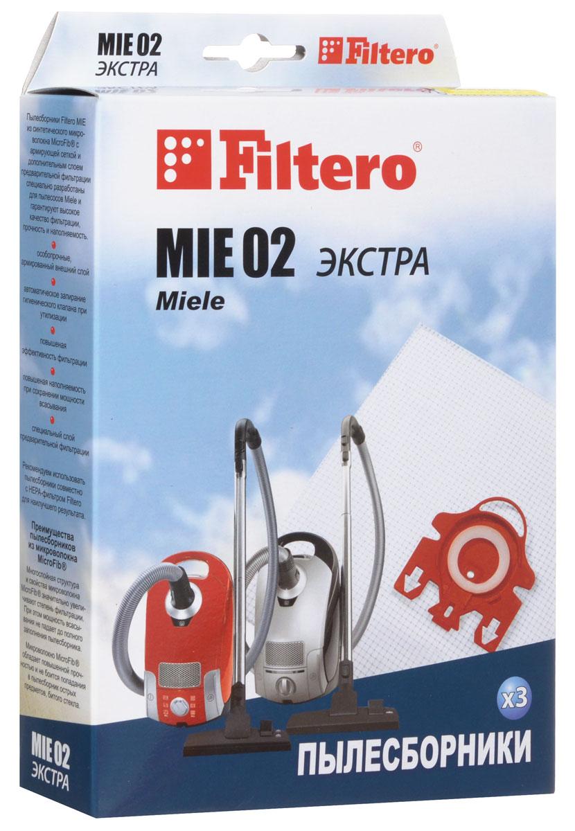 Filtero MIE 02 Экстра пылесборник (3 шт)MIE 02 (3) ЭКСТРАПылесборники Filtero MIE 02 Экстра произведены из синтетического микроволокна MicroFib с армирующей сеткой и дополнительным слоем предварительной фильтрации. Очень прочные, они не боятся острых предметов и влаги, обеспечивают уровень очистки воздуха 99,9%, прочность и наполняемость. При этом мощность всасывания пылесоса сохраняется в течение всего периода службы пылесборника.Пылесборники подходят для следующих моделей пылесосов:MIELES 241 i - 299 iS 300 i - S 399 iS 500 i - S 599 iS 700 - S 799S 4200 - S 4999например:S 4281 Baby CareS 6200 - S 6999например:S 6220 Cat & Dog