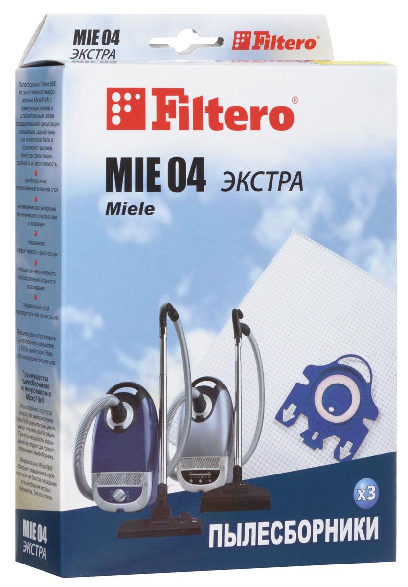 Filtero MIE 04 Экстра пылесборник (3 шт)MIE 04 (3) ЭКСТРАПылесборники Filtero MIE 04 Экстрапроизведены из синтетического микроволокна MicroFib с армирующей сеткой и дополнительным слоем предварительной фильтрации. Очень прочные, они не боятся острых предметов и влаги, обеспечивают уровень очистки воздуха 99,9%, прочность и наполняемость. При этом мощность всасывания пылесоса сохраняется в течение всего периода службы пылесборника.Пылесборники подходят для следующих моделей пылесосов:MIELES 400 i - S 499 iнапример:S 430 iS 600 i - S 699 iS 800 - S 899например:S 858S 2110 - S 2190например:S 2120S 5200 - S 5999например:S 5220 PrimaveraS 5480 Eco Comfort