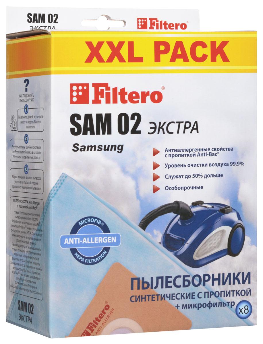 Filtero SAM 02 XXL Pack Экстра пылесборник (8 шт)SAM 02 (8) XXL PACK ЭКСТРАПылесборники Filtero SAM 02 XXL Pack Экстра Anti-Allergen произведены из синтетического микроволокна MicroFib с антибактериальной пропиткой Anti-Bac. Очень прочные, они не боятся острых предметов и влаги, собирают больше пыли (до 50%) и обеспечивают уровень очистки воздуха 99,9%, а также задерживают бактерии и препятствуют их распространению. При этом мощность всасывания пылесоса сохраняется в течение всего периода службы пылесборника.Пылесборники подходят для следующих моделей пылесосов:SAMSUNGSC 31...SC 51... Easy & CleanSC 52... EasySC 53... Easy & CleanSC 54...SC 69...SC 70... Duo CleaningSC 72... Eco FreshSC 75...VC 58...например: VC 5853VC 59... EasyVC 61...VC 63... LibeceVC 67...VC 68...VC 69...VC 71...VC 86... AKIRA VC-R 1201, 1404, 1406, VC-S 1502 BLBIMATEK V 1101, V 1801, V 6514, V 6617, V 8518, V 9009BORK VC 2516, 3119, 3216, 5017, 5317, 5817, 7516, 8022CAMERON CVC 1070CLATRONIC BS 1204, 1205, 1211, 1212, 1215, 1219, 1220, 1221, 1223, 1225, 1226, 1440DE LONGHI XTD 2040, 2060, 3070, 3080, 3095 Orbit, XTH 170 CleosELEKTA EVC 2610 ZeusELENBERG VC 2036, 2038MELISSA 640-028PHOENIX VC 9949SCARLETTSC 080, 083 Clint, Marvin, 084 Antony, 086 Conrad, Peter, SC 089 Conrad, StuartSC 1080, 1081 Ferdinand, SC 1083 Rudolf,1085 Arnold, 1086 Tristan, 1088 DonaldSC 281 James, 286 Colin, 287 RichardSATURN ST 1274, 1275 Lexes, 1276 Lexes, 1278 Atlas, 1284 NessonSHIVAKI SVC 1412 Breeze, 1607 StormUFESA AT 4201 - 4203, 4205, 7310 - 7313VIGOR HVC 1300, 1600, 1640, 2000VITEK VT 1801, 1810