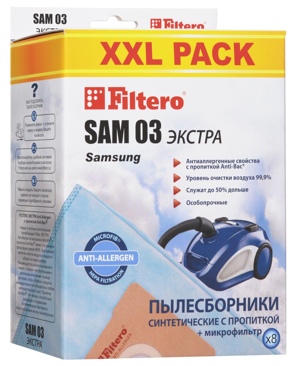 Filtero SAM 03 XXL Pack Экстра пылесборник (8 шт)SAM 03 (8) XXL PACK ЭКСТРАПылесборники Filtero SAM 03 XXL Pack Экстра Anti-Allergen произведены из синтетического микроволокна MicroFib с антибактериальной пропиткой Anti-Bac. Очень прочные, они не боятся острых предметов и влаги, собирают больше пыли (до 50%) и обеспечивают уровень очистки воздуха 99,9%, а также задерживают бактерии и препятствуют их распространению. При этом мощность всасывания пылесоса сохраняется в течение всего периода службы пылесборника.Пылесборники подходят для следующих моделей пылесосов:SAMSUNGSC 21F60SC 40... Clean Forceнапример: SC 4030 Clean ForceSC 41… Clean ForceSC 56...SC 61... CupidSC 61A...SC 61A1SC 61B...SC 61B4SC 62... Stealth ProSC 63... Stealth Pro например: SC 6340Stealth ProSC 78... Stardust ClassicSC 79… GrandSC 83... Eco DreamVC 55...VC 60... Veloce-ecoVC 74...VC 77...VC 89... DigimaxVCJG 246 VVCJG 248 HAKIRA VC-R 1403EVGO EVC 4060HYUNDAI H-VC 1580SHIVAKI SVC 1426 Borasca