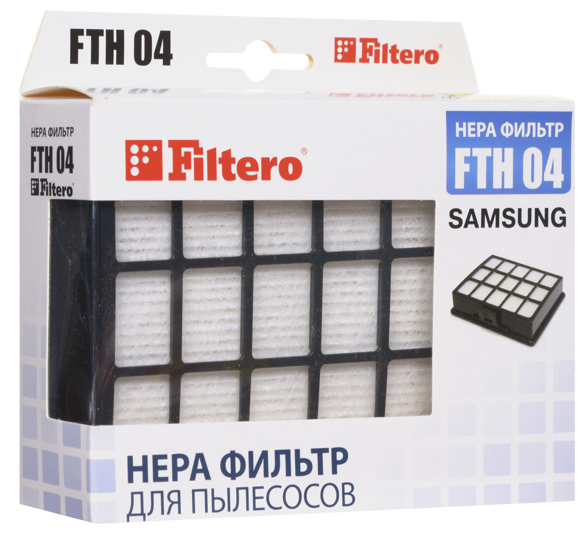 Filtero FTH 04 SAM Hepa-фильтр для SamsungFTH 04 SAM HEPAHepa-фильтр Filtero FTH 04 SAM препятствует выходу мельчайших частиц пыли и аллергенов из пылесоса в помещение.Фильтр не моющийся. Подлежит замене, согласно рекомендации производителя пылесосов - не реже одного раза за 6 месяцев.Подходит для следующих пылесосов:SAMSUNGSC 65… серии,SC 66... серииSC 67… серииSC 68… сериинапример: SC 6892