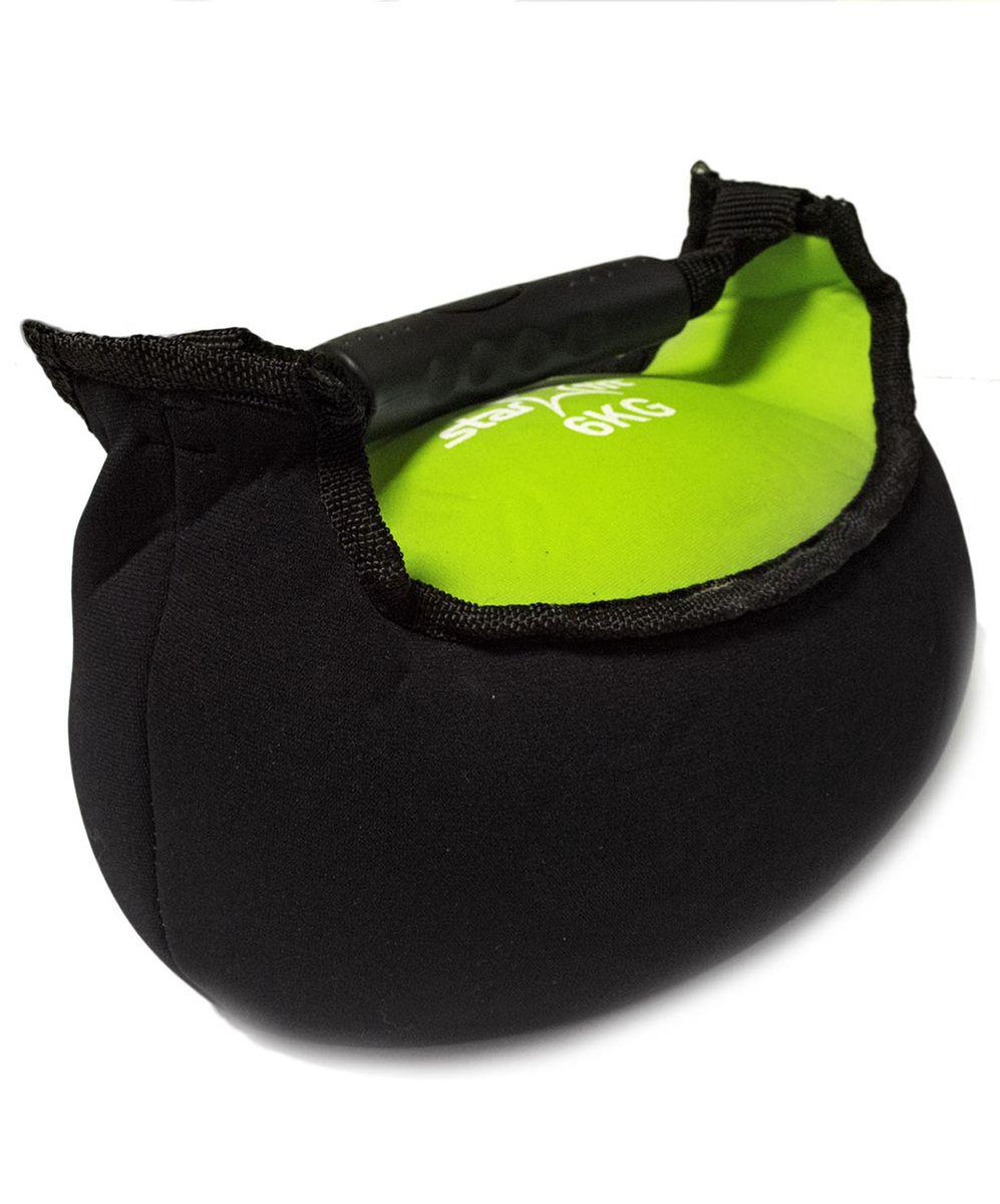 Гиря мягкая неопреновая Starfit, цвет: черный, зеленый, 6 кг гиря starfit db 401 виниловая цвет желтый черный 4 кг