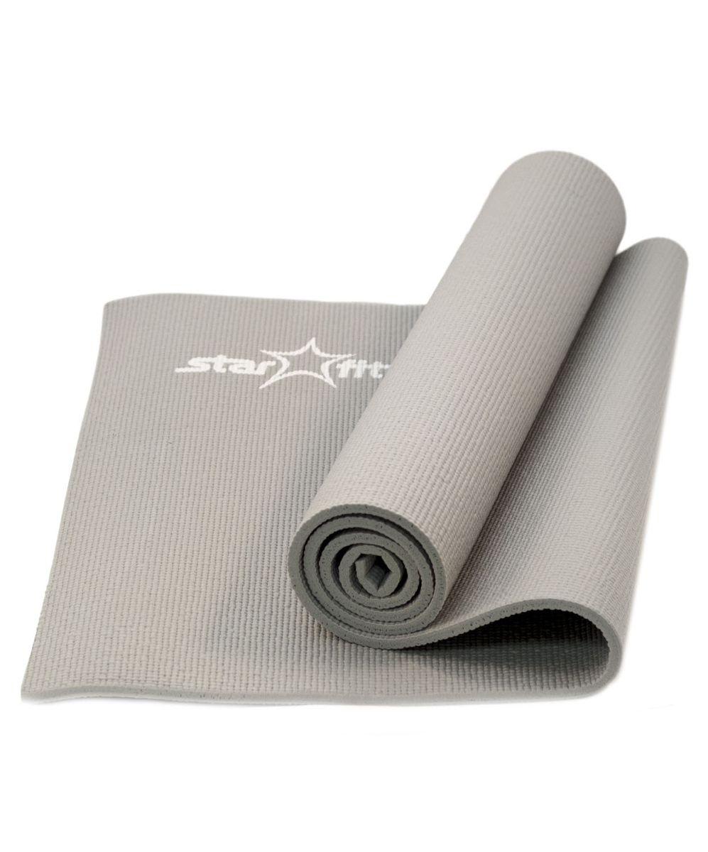 Коврик для йоги Starfit FM-101, цвет: серый, 173 x 61 x 1 смУТ-00007232Коврик для йоги Star Fit FM-101 - это незаменимый аксессуар для любого спортсмена как во время тренировки, так и во время пре-стретчинга (растяжки до тренировки) и стретчинга (растяжки после тренировки). Выполнен из высококачественного ПВХ. Коврик используется в фитнесе, йоге, функциональном тренинге. Его используют спортсмены различных видов спорта в своем тренировочном процессе.Предпочтительно использовать без обуви. Если в обуви, то с мягкой подошвой, чтобы избежать разрыва поверхности коврика.