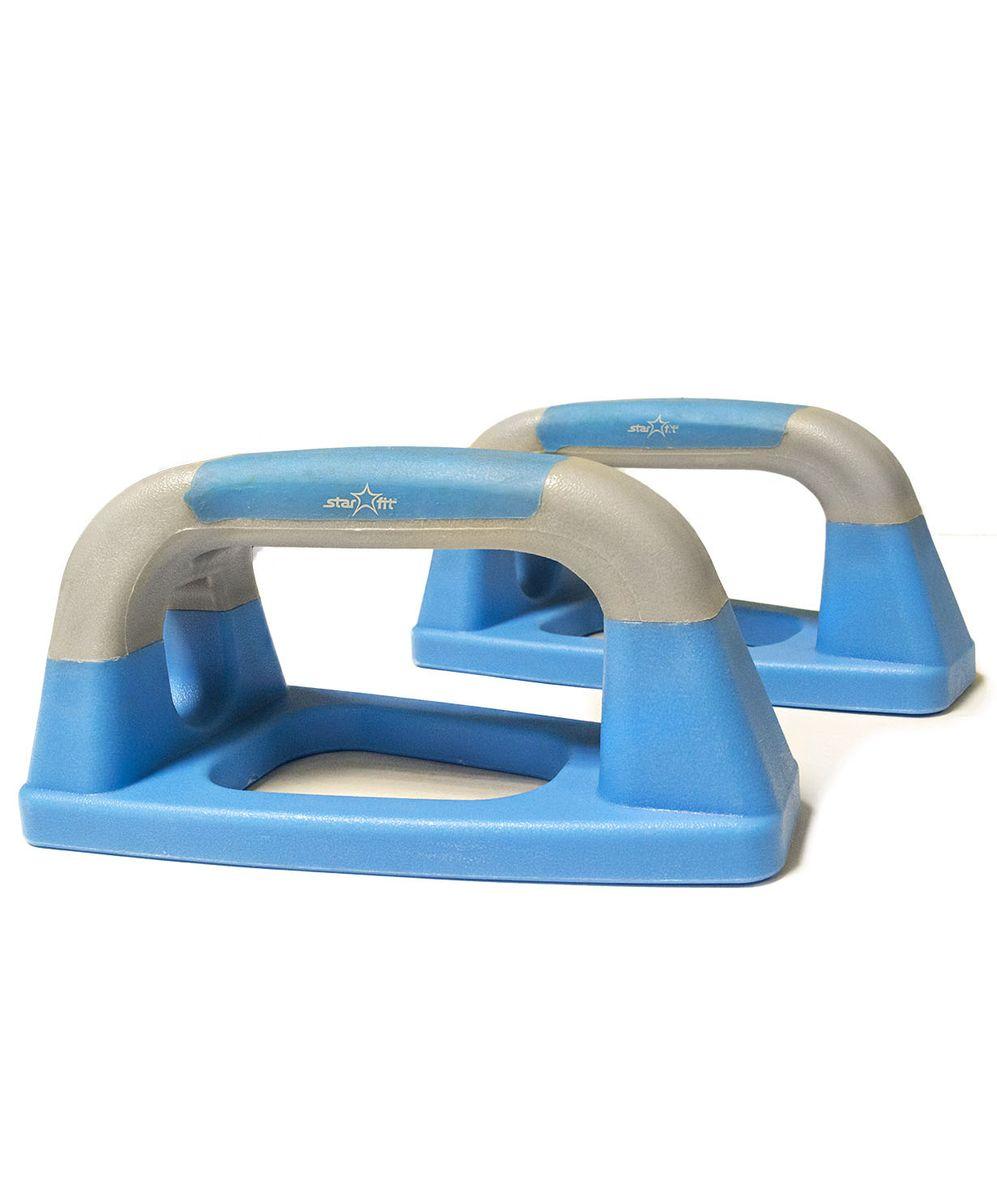Упоры для отжиманий Starfit BA-303, утюжки, цвет: синий, серый, 2 штУТ-00007325Упоры для отжиманий BA-303 выполнены из высококачественного пластика.Традиционную технику выполнения отжиманий можно существенно дополнить, используя упоры для отжиманий - эффективный инструмент, который позволяет развивать и укреплять мышцы рук, груди и плечевого пояса, развивает выносливость. Порадуйте себя прочным и полезным тренажером.Как выбрать тренажер для наращивания мышечной массы. Статья OZON Гид