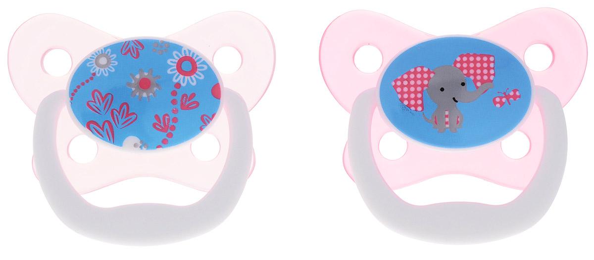 Dr.Brown's Пустышка PreVent Бабочка от 6 до 12 месяцев цвет розовый 2 шт bebe confort пустышки латексные classic dummies 6 12 мес 2 шт