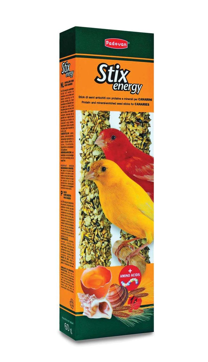 Палочки Padovan Повышение энергичности для канареек, 2 х 60 г16802Лакомство - две аппетитные палочки, спрессованные из тщательно подобранной смеси разнообразных семян и полезных пищевых добавок – особенно, минералов.Предназначено для канареек. Пригодно для питания и других птиц. Снабжены приспособлением для удобного крепления лакомства внутри клетки.Состав: канареечное семя, льняное семя, масличный нуг (гвизоция абиссинская), печенье: пшеничная мука, дрожжи, пищевые красители, яйцо, аминокислоты, минералы, консерванты, натуральные вкусовые добавки.
