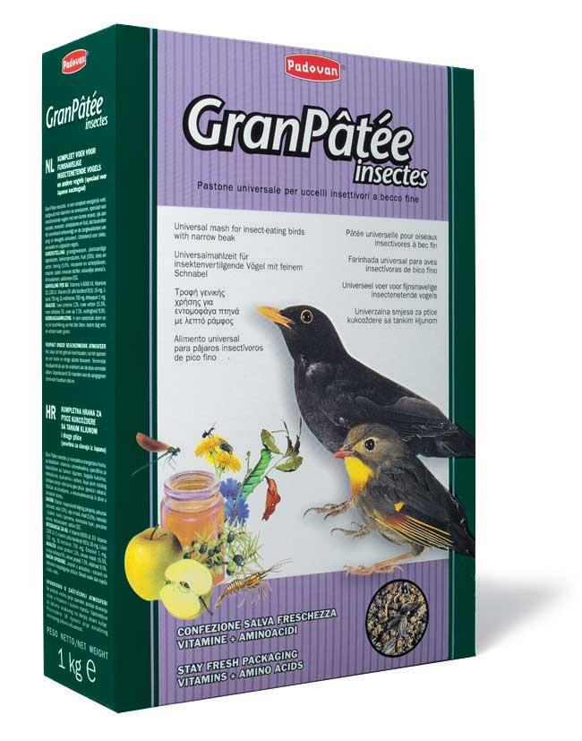 Корм Padovan GranPatee insectes для насекомоядных птиц, с насекомыми, 1 кг корм для тропических птиц padovan wellness mix полнорационный 1кг