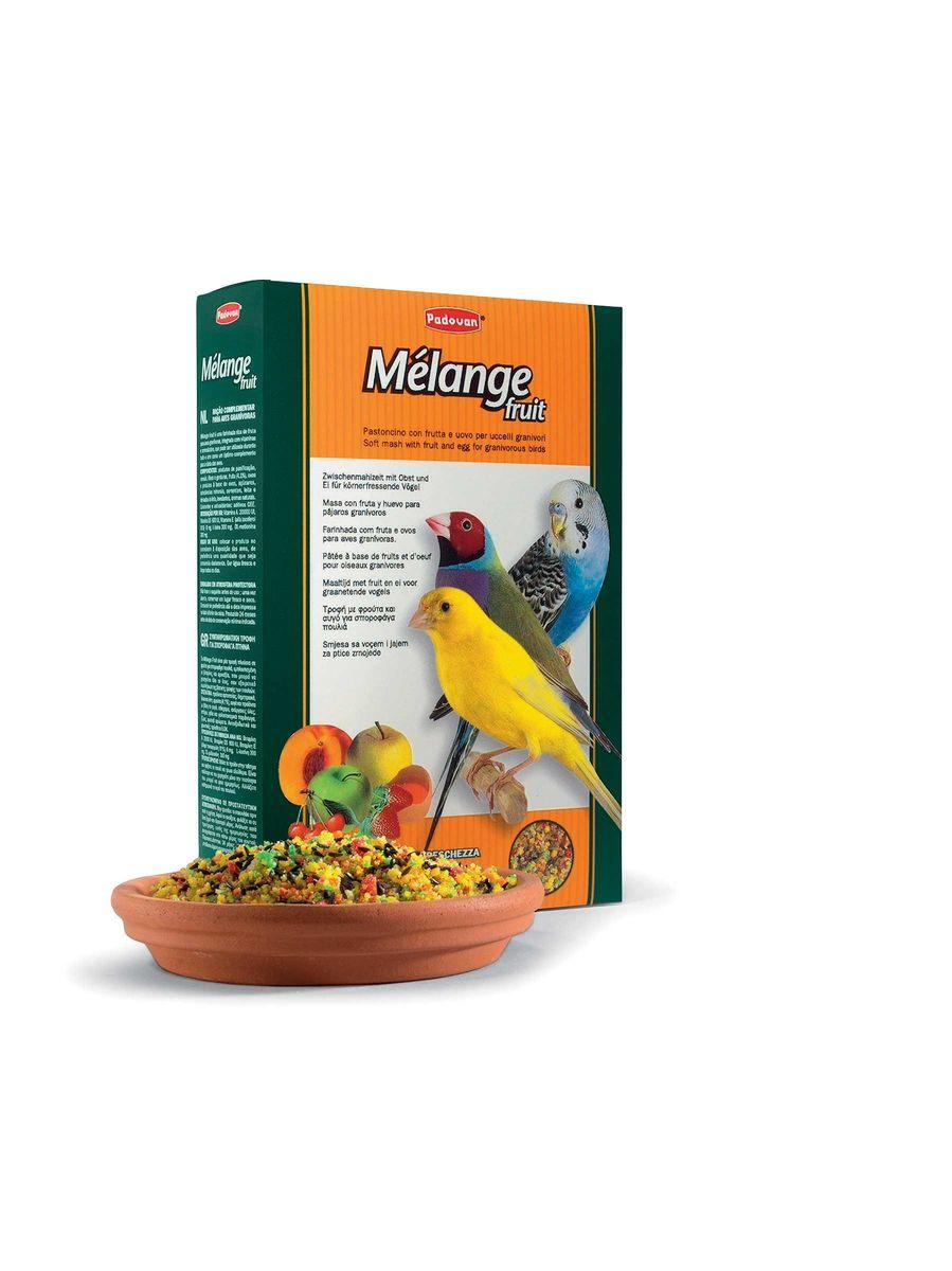 Корм Padovan Melange fruit, для декоративных птиц, для улушения оперения во время линьки, 300 г корм для тропических птиц padovan wellness mix полнорационный 1кг