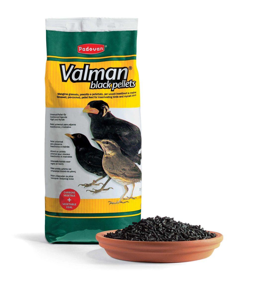 Корм Padovan Valman black pellets, дополнительный, для насекомоядных птиц, с активированным углем и овощами, 1 кг корм для птиц padovan очищенный овес