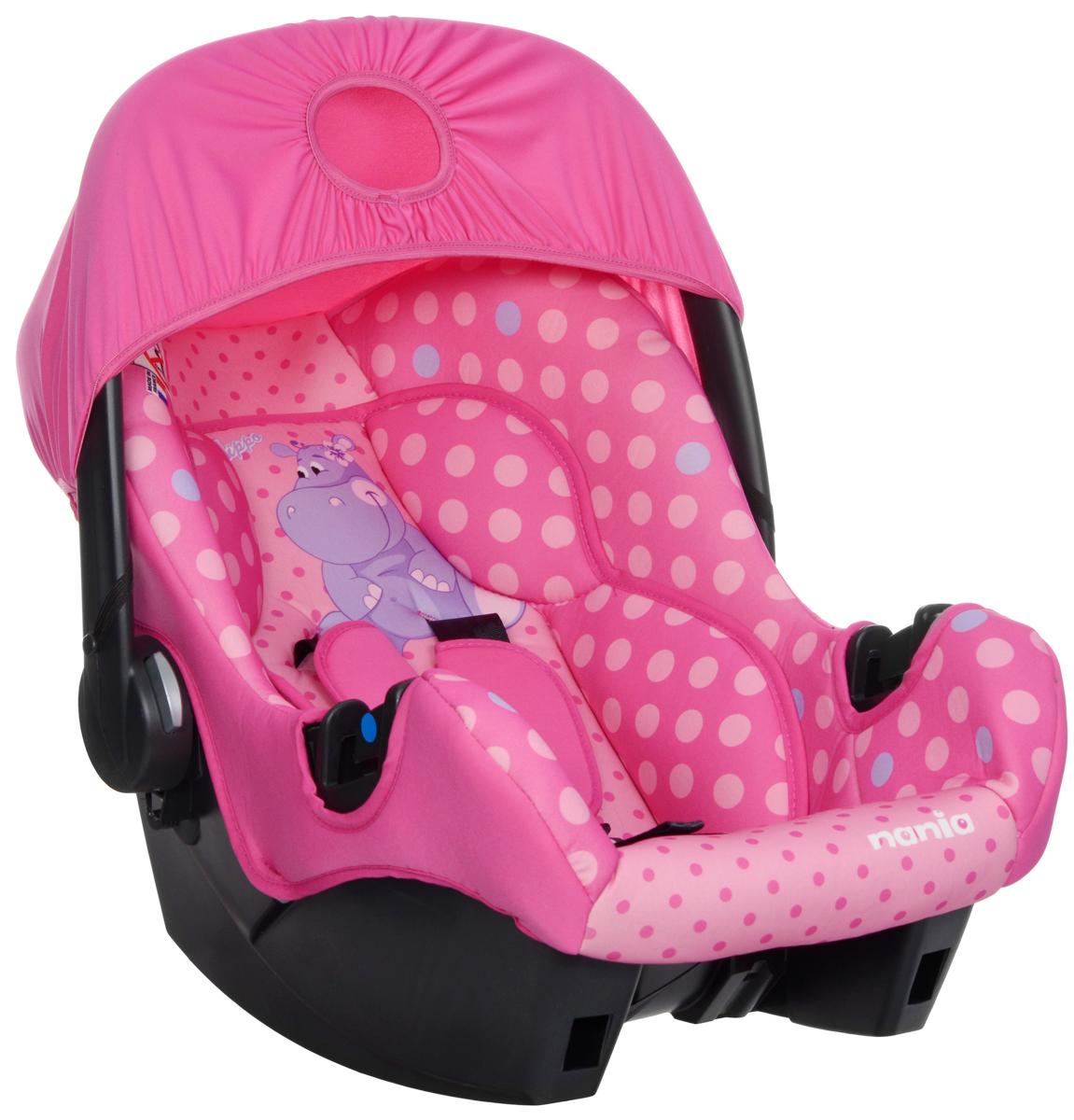 Nania Автокресло Beone SP Hippo 0-13 кг483135Автокресло Nania Beone SP. Hippo разработано специально для новорожденных и гарантирует комфорт и безопасность маленького пассажира во время поездки в автомобиле.Каркас кресла имеет удобную анатомическую форму и поддерживает неокрепшие мышцы малыша, внутри мягкая подушка. Кресло оснащено регулируемыми трехточечными ремнями безопасности с тремя уровнями регулировки по высоте и мягкими плечевыми накладками. Особая конструкция с двойными стенками и расширением в области головы гарантирует оптимальную защиту при боковом ударе. Солнцезащитный козырек не допускает попадания прямых солнечных лучей и пропускает воздух. Тканевую обивку и подушку можно снимать и стирать при температуре воды не выше 30° C. Кресло также может использоваться как качалка и детская переноска. Имеется эргономичная регулируемая ручка для транспортировки. Кресло устанавливается на заднем сиденье или спереди на пассажирском против направления движения с обязательным отключением подушки безопасности. Благодаря специальной системе крепления автокресло легко и надежно фиксируется в автомобиле.Веселый бегемот, изображенный на автокресле, не даст заскучать вашему ребенку даже в дальней дороге.Проверено и одобрено в соответствии с требованиями европейского стандарта ECE R44/04.