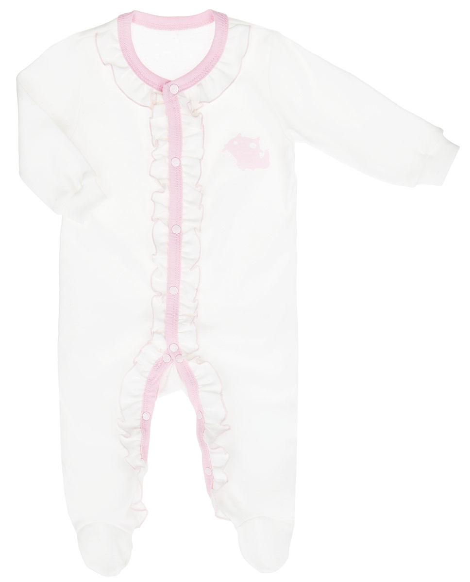 Комбинезон для девочки Клякса, цвет: кремовый, розовый. 37К-510. Размер 56