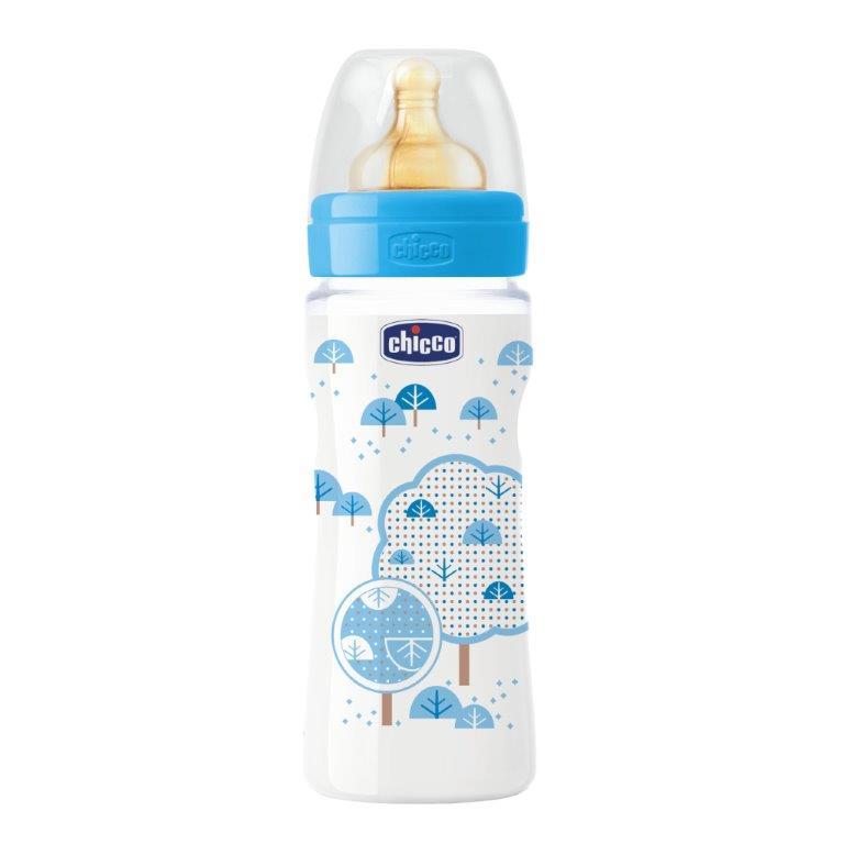 Chicco Бутылочка для кормления с латексной соской Well-Being Boy от 4 месяцев 330 мл -  Бутылочки