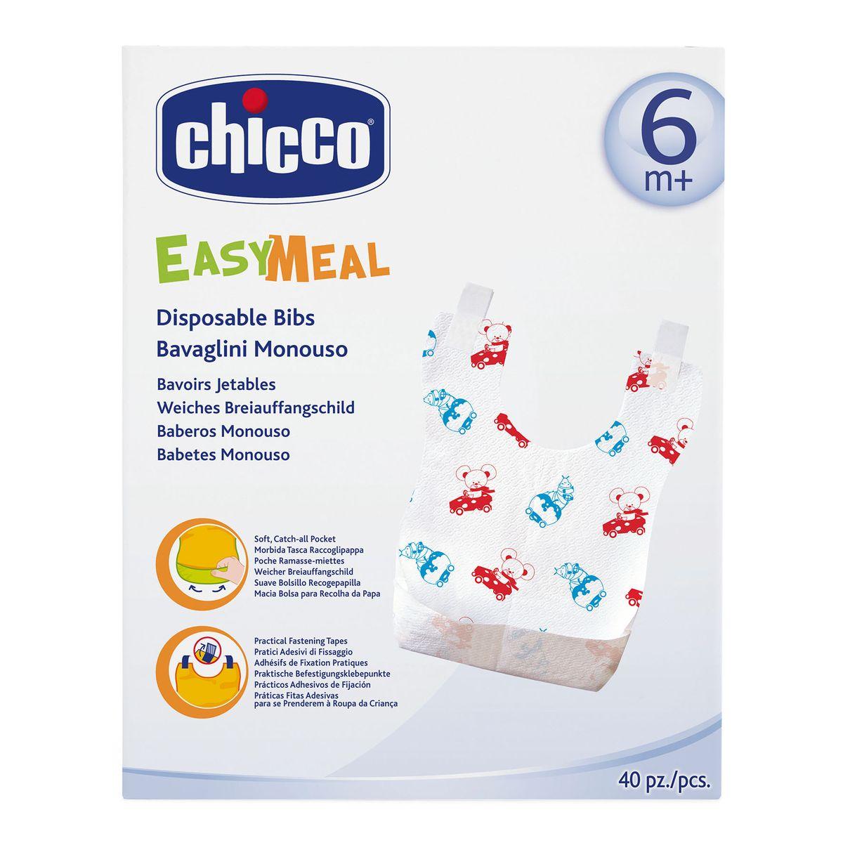 Chicco Нагрудник одноразовый с карманом и липучками 40 шт - Все для детского кормления