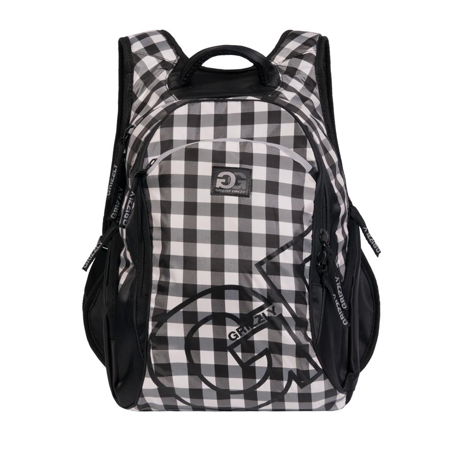 Рюкзак городской женский  Grizzly , цвет: черный, белый, 24 л. RD-640-1/3 - Рюкзаки