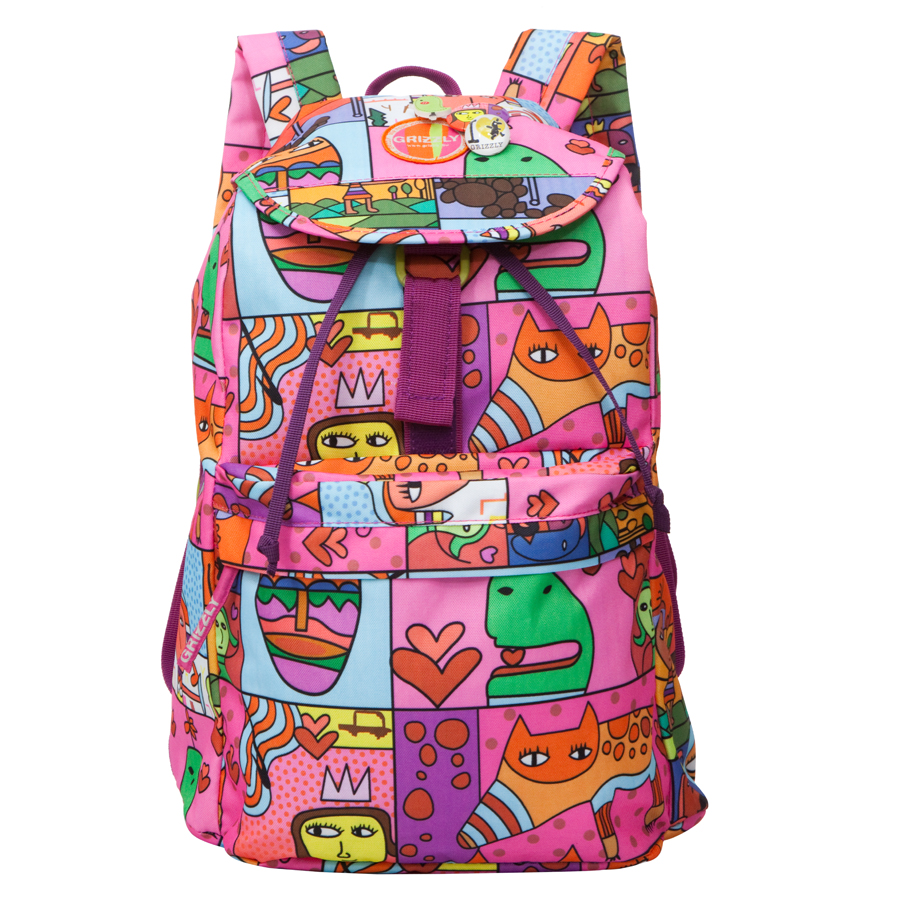 Рюкзак городской женский Grizzly, цвет: розовый, мультиколор, 22 л. RD-646-2/1RD-646-2/1Молодежный рюкзак Grizzl выполнен из высококачественного полиэстера и оформлен оригинальным фирменным принтом. Рюкзак имеет петлю для подвешивания и две удобные лямки, длина которых регулируется с помощью пряжек. Модель выполнена с объемным основным отделением, которое закрывается затягивающимся шнуром. Отделение имеет внутренний карман на молнии. Передняя стенка оснащена накладным карманом на молнии. Тыльная сторона имеет мягкую спинку.