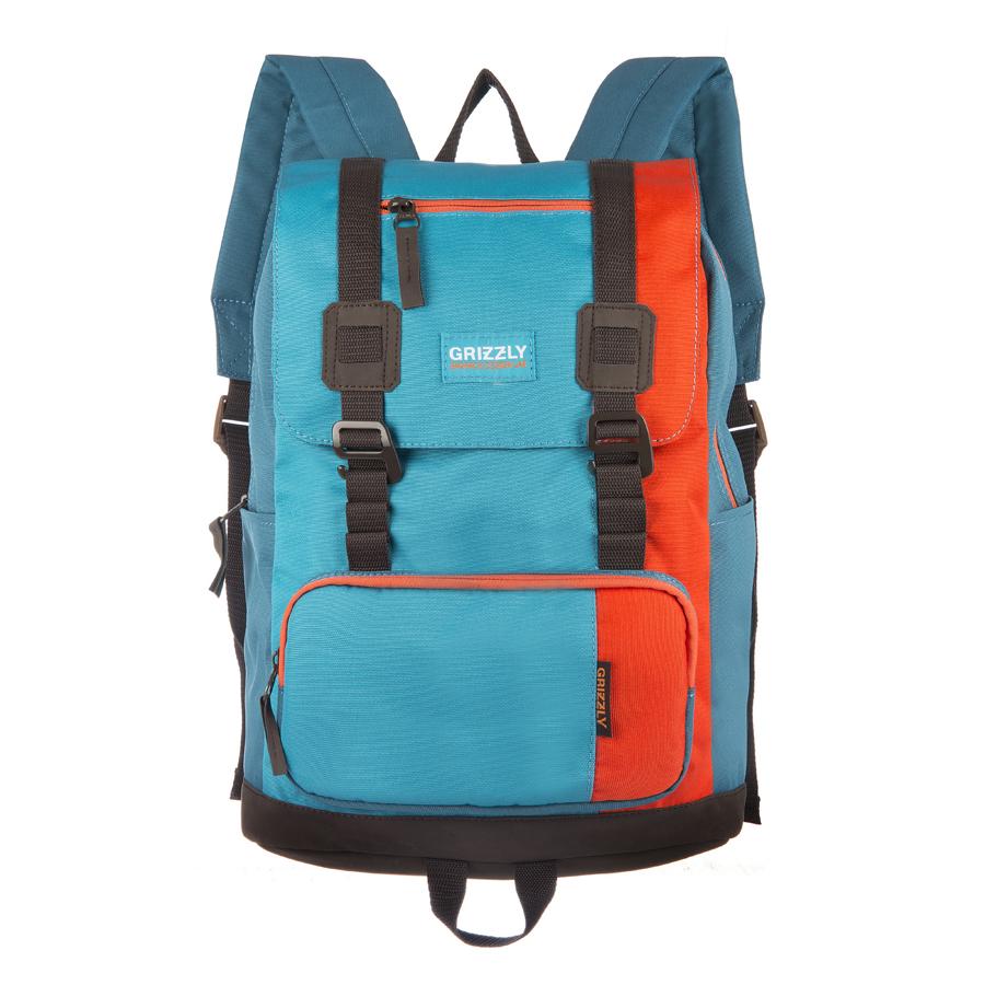 Рюкзак городской Grizzly, цвет: голубой, оранжевый, 23 л. RU-619-2/1RU-619-2/1Рюкзак городской Grizzl выполнен из высококачественного таслана. Рюкзак имеет ручку-петлю для подвешивания и две удобные лямки, длина которых регулируется с помощью пряжек. На лицевой стороне расположено одно основное отделение с большим закрывающим клапаном и ремешками на пластиковых крючках. Рюкзак оснащен внутренним укрепленным карманом для ноутбука. Передняя стенка модели дополнена накладным карманом на молнии. Внешняя сторона и спинка рюкзака выполнены с карманами быстрого доступа на молнии.