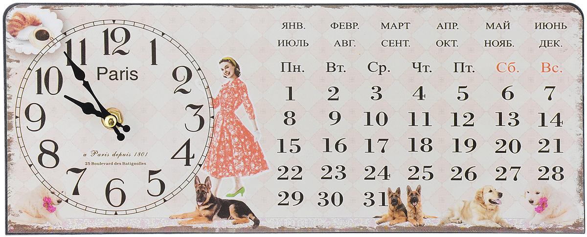 Часы настольные Феникс-Презент Девушка с собачками, 35 х 14 см набор настольных игр феникс презент 29 14 5 3 2см в деревян коробке 35702