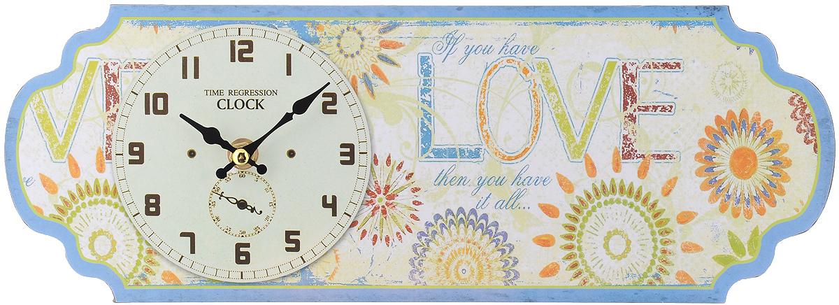 Часы настольные Феникс-Презент Бирюза, 36 х 13 см40719Настольные часы Феникс-Презент Бирюза своим эксклюзивным дизайном подчеркнут оригинальность интерьера вашего дома.Часы выполнены из МДФ в виде таблички с цветочным рисунком и надписями. МДФ (мелкодисперсные фракции) представляет собой плиту из запрессованной вакуумным способом деревянной пыли и является наиболее экологически чистым материалом среди себе подобных. Часы имеют две стрелки - часовую и минутную.Настенные часы Феникс-Презент Бирюза подходят для кухни, гостиной, прихожей или дачи, а также могут стать отличным подарком для друзей и близких. ВНИМАНИЕ!!! Часы работают от сменной батареи типа АА 1,5V (в комплект не входит).