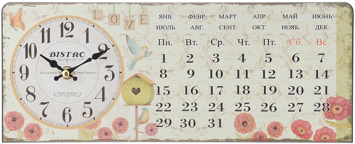 Часы настольные Феникс-Презент Красные цветочки, 35 х 14 см40746Настольные часы прямоугольной формы Феникс-Презент Красные цветочки своим эксклюзивным дизайном подчеркнут оригинальность интерьера вашего дома.Часы выполнены из металла. Они оформлены изображением календаря, цветов и птиц.Часы имеют две стрелки - часовую и минутную.Настольные часы Феникс-Презент Красные цветочки подходят для кухни, гостиной, прихожей или дачи, а также могут стать отличным подарком для друзей и близких.ВНИМАНИЕ!!! Часы работают от сменной батареи типа АА 1,5V (в комплект не входит).
