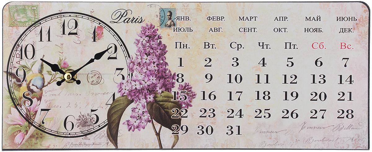 Часы настольные Феникс-Презент Сирень, 35 х 14 см40748Настольные часы прямоугольной формы Феникс-Презент Сирень своим эксклюзивным дизайном подчеркнут оригинальность интерьера вашего дома.Часы выполнены из металла. Они оформлены изображением календаря и сирени.Часы имеют две стрелки - часовую и минутную.Настольные часы Феникс-Презент Сирень подходят для кухни, гостиной, прихожей или дачи, а также могут стать отличным подарком для друзей и близких.ВНИМАНИЕ!!! Часы работают от сменной батареи типа АА (в комплект не входит).