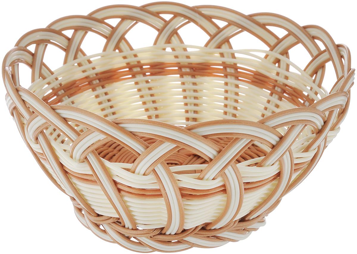 Корзинка плетеная Oriental Way Мульти, цвет: молочный, коричневый, диаметр 20 смMJ-PP019BGBRПлетеная корзинка Oriental Way Мульти изготовлена из устойчивого к воздействию окружающей среды полипропилена. Идеально подходит для хранения выпечки, конфет, фруктов, косметики, рукоделия и оформления подарков. Она не требует тщательного ухода, не впитывает запахи, не боится воды и не разрушается от перепада температур. Плетеная корзинка Oriental Way Мульти отлично впишется в интерьер вашего дома.Диаметр корзинки (по верхнему краю): 20 см.Высота корзинки: 10 см.