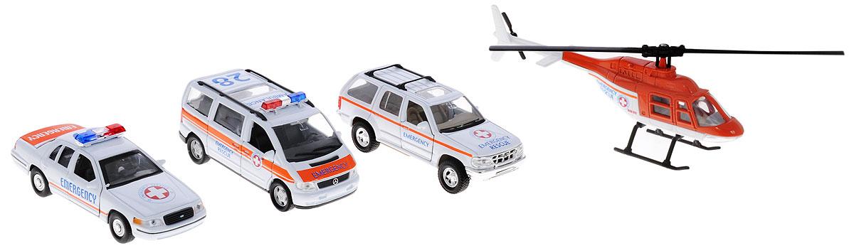 Welly Игровой набор Служба спасения Скорая помощь 4 предмета машинки barbie игровой набор фургон