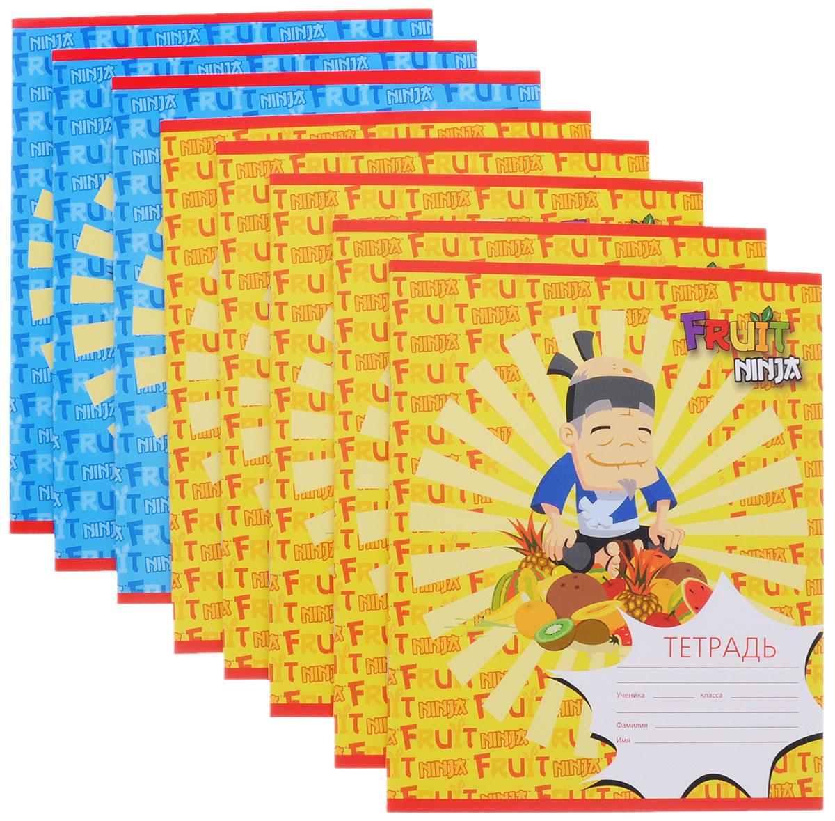 Action! Набор тетрадей Fruit Ninja 24 листа в клетку цвет желтый синий 8 штFN-AN 2402/5_желтый, синийНабор тетрадей Action! Fruit Ninja прекрасно подойдет для учащихся любого возраста. Обложка выполнена из мелованного картона и украшена изображением героя знаменитой игры Fruit Ninja. Внутренний блок тетради состоит из 24 листов белой бумаги. Страницы размечены стандартной линовкой в голубую клетку и дополнены полями, совпадающими с лицевой и оборотной стороны листа. Набор состоит из 8 тетрадей.