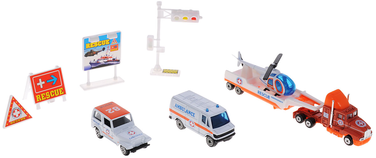 Welly Игровой набор Служба спасения Скорая помощь 9 предметов welly welly набор служба спасения скорая помощь 4 штуки