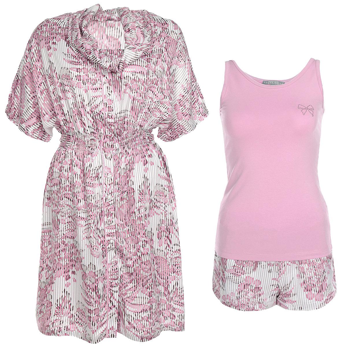 Комплект женский Relax Mode: майка, шорты, халат, цвет: пепельно-розовый. 25267. Размер XS (42)25267Женский комплект одежды для дома Relax Mode состоит из майки, шорт и халата. Комплект изготовлен из приятного на ощупь высококачественного материала. Майка, халат и шорты превосходно сидят, не сковывают движения и позволяют коже дышать. Эластичная майка с круглым вырезом горловины украшена узором в виде бантика из страз. Удобные шорты на широкой эластичной резинке - удобная и практичная вещь в гардеробе. Объем талии регулируется при помощи шнурка-кулиски. Свободный халат с короткими рукавами-кимоно и воротником-гольф дополнен эластичной резинкой на талии, а также широким завязками. Этот практичный и модный домашний комплект - настоящее воплощение комфорта. В нем вы всегда будете чувствовать себя удобно и уютно.