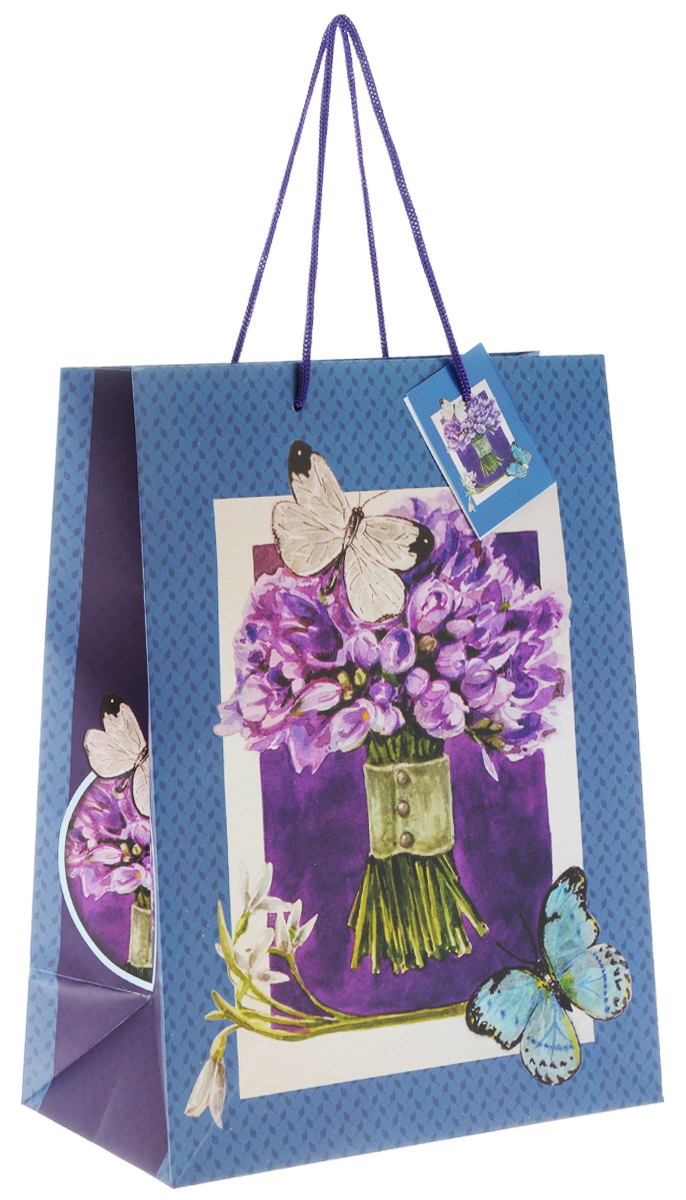 Пакет подарочный Феникс-Презент Сиреневый букет, 26 х 32,4 х 12,7 см феникс презент подарочный пакет лимоны 26 32 4 12 7 см