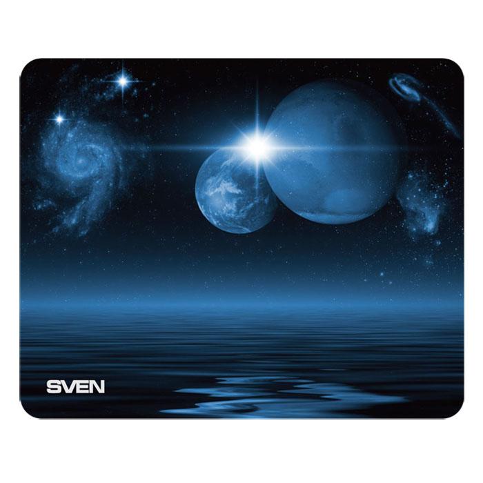 Sven SA, Blue Black коврик для мышиSA-011147Коврик для мыши Sven SA изготовлен из 100% полиэстера и полиуретана -высокотехнологичных экологических материалов. Коврик выпускается с большим количеством различных изображений и имеет надежное сцепление с поверхностью стола.