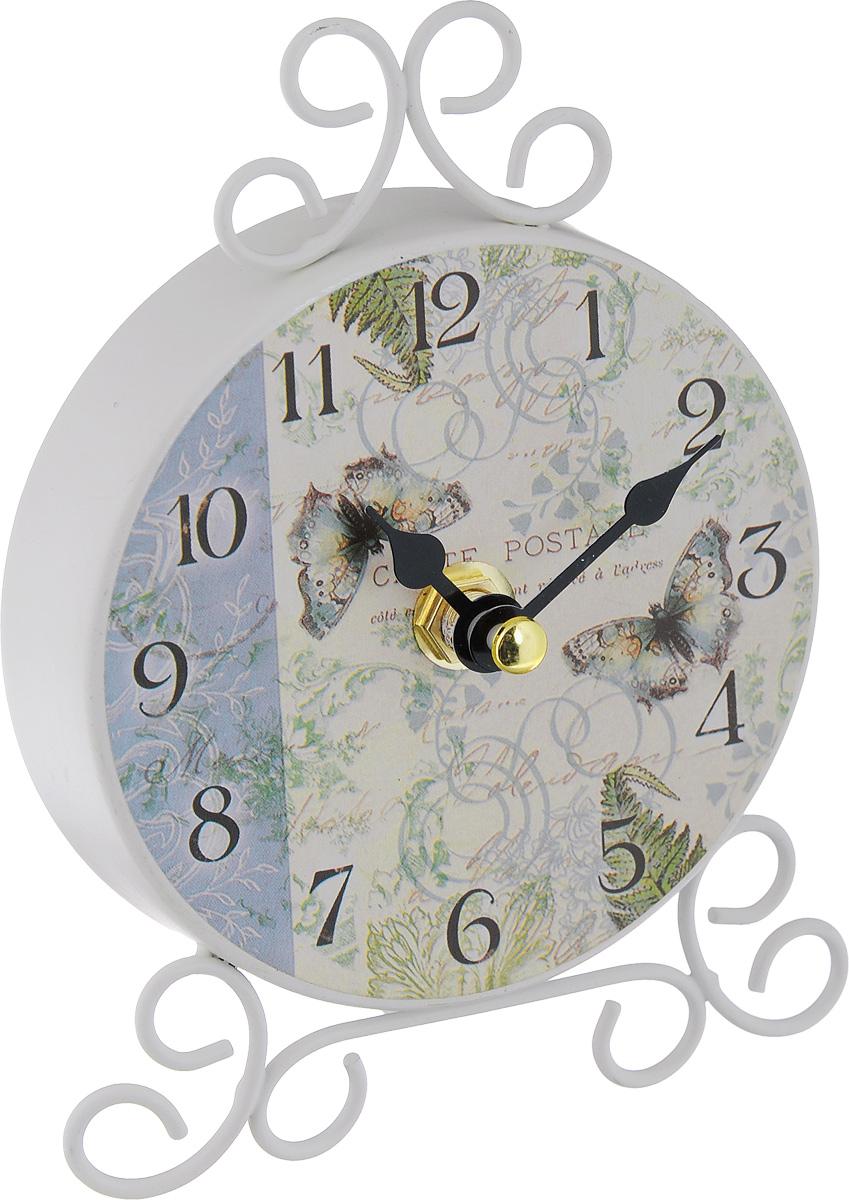 Часы настольные Феникс-Презент Папоротник40744Настольные часы Феникс-Презент Папоротник своим эксклюзивным дизайном подчеркнут оригинальность интерьера вашего дома.Часы выполнены из металла и оформлены изображением папоротника и бабочек. Часы имеют две стрелки - часовую и минутную.Настольные часы Феникс-Презент Папоротник подходят для кухни, гостиной, прихожей или дачи, а также могут стать отличным подарком для друзей и близких.ВНИМАНИЕ!!! Часы работают от сменной батареи типа АА 1,5V (в комплект не входит).