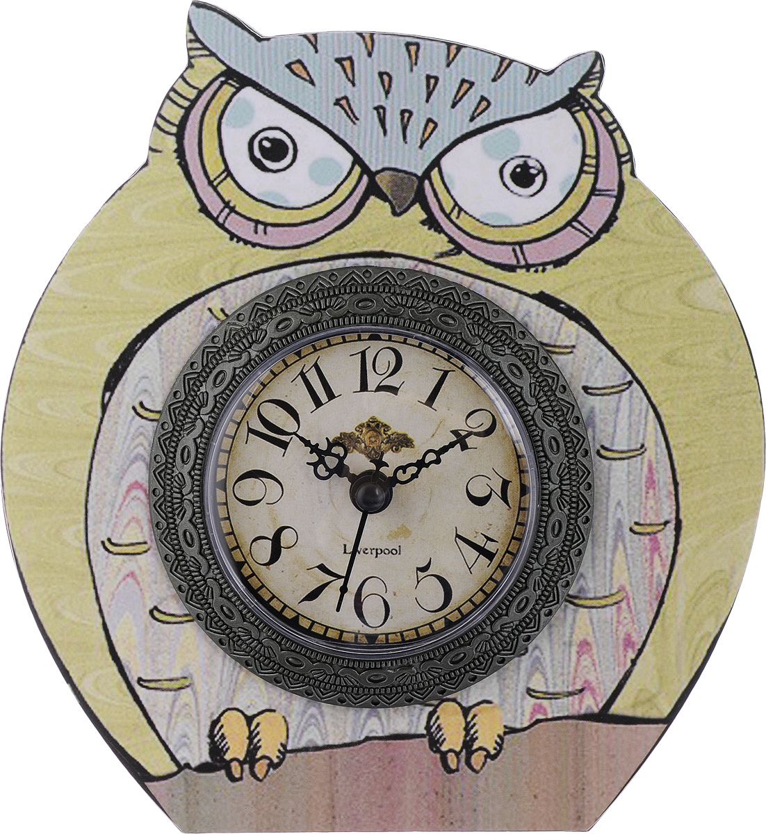 Часы настольные Феникс-Презент Мудрый филин, 17 х 16 см40736Настольные часы Феникс-Презент Мудрый филин своимэксклюзивным дизайном подчеркнут оригинальность интерьеравашего дома.Часы выполнены из МДФ в виде филина. МДФ(мелкодисперсные фракции) представляет собой плиту иззапрессованной вакуумным способом деревянной пыли и являетсянаиболее экологически чистым материалом среди себе подобных.Часы имеют три стрелки - секундную, часовую и минутную. Настольные часы Феникс-Презент Мудрый филин подходятдля кухни, гостиной, прихожей или дачи, а также могут статьотличным подарком для друзей и близких. ВНИМАНИЕ!!! Часы работают от сменной батареи типа АА 1,5V(в комплект не входит).