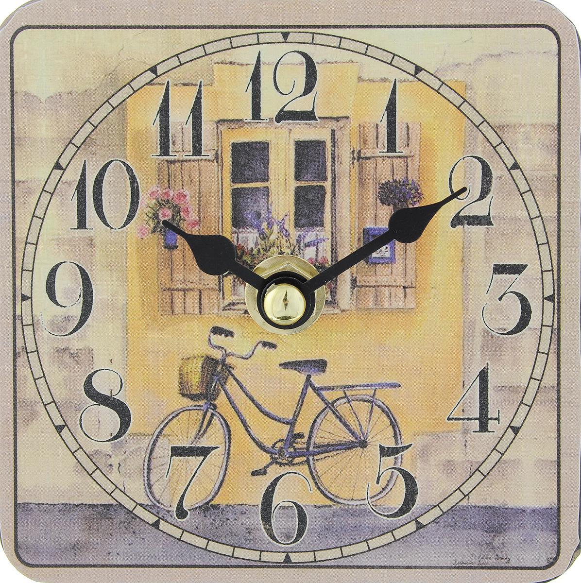 Часы настольные Феникс-Презент Велосипед, 10 х 10 см40733Настольные часы квадратной формы Феникс-Презент Велосипед своим эксклюзивным дизайном подчеркнут оригинальность интерьера вашего дома. Циферблат оформлен цветным рисунком. Часы выполнены из МДФ. МДФ (мелкодисперсные фракции) представляет собой плиту из запрессованной вакуумным способом деревянной пыли и является наиболее экологически чистым материалом среди себе подобных. Часы имеют две стрелки - часовую и минутную.Настольные часы Феникс-Презент Велосипед подходят для кухни, гостиной, прихожей или дачи, а также могут стать отличным подарком для друзей и близких.ВНИМАНИЕ!!! Часы работают от сменной батареи типа АА 1,5V (в комплект не входит).