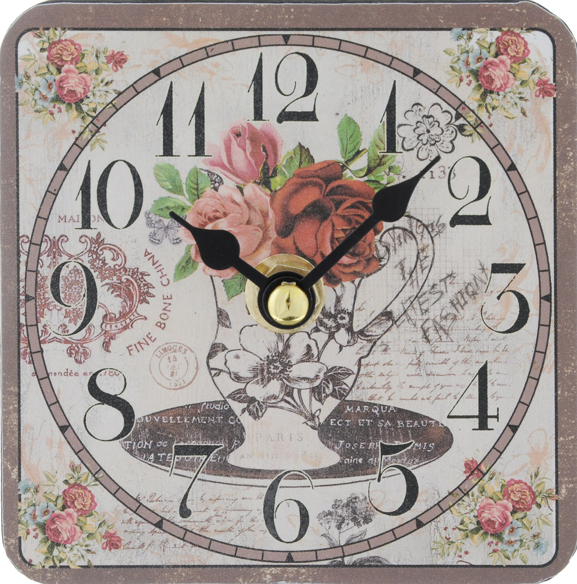 Часы настольные Феникс-Презент Ваза с цветами, 10 х 10 см40727Настольные часы квадратной формы Феникс-Презент Ваза с цветами своим эксклюзивным дизайном подчеркнут оригинальность интерьера вашего дома.Циферблат оформлен изображением вазы с цветами.Часы выполнены из МДФ. МДФ (мелкодисперсные фракции) представляет собой плиту из запрессованной вакуумным способом деревянной пыли и является наиболее экологически чистым материалом среди себе подобных.Часы имеют две стрелки - часовую и минутную. Настольные часы Феникс-Презент Ваза с цветами подходят для кухни, гостиной, прихожей или дачи, а также могут стать отличным подарком для друзей и близких. ВНИМАНИЕ!!! Часы работают от сменной батареи типа АА 1,5V (в комплект не входит).