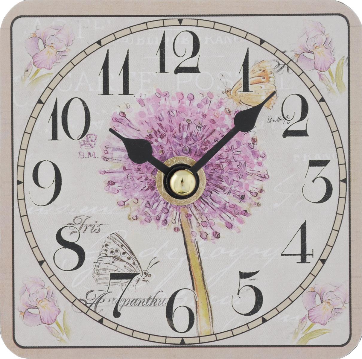 Часы настольные Феникс-Презент Цветение, 10 х 10 см40731Настольные часы квадратной формы Феникс-Презент Цветение своим эксклюзивным дизайном подчеркнут оригинальность интерьера вашего дома. Циферблат оформлен изображением цветов. Часы выполнены из МДФ. МДФ (мелкодисперсные фракции) представляет собой плиту из запрессованной вакуумным способом деревянной пыли и является наиболее экологически чистым материалом среди себе подобных. Часы имеют две стрелки - часовую и минутную.Настольные часы Феникс-Презент Цветение подходят для кухни, гостиной, прихожей или дачи, а также могут стать отличным подарком для друзей и близких.ВНИМАНИЕ!!! Часы работают от сменной батареи типа АА 1,5V (в комплект не входит).