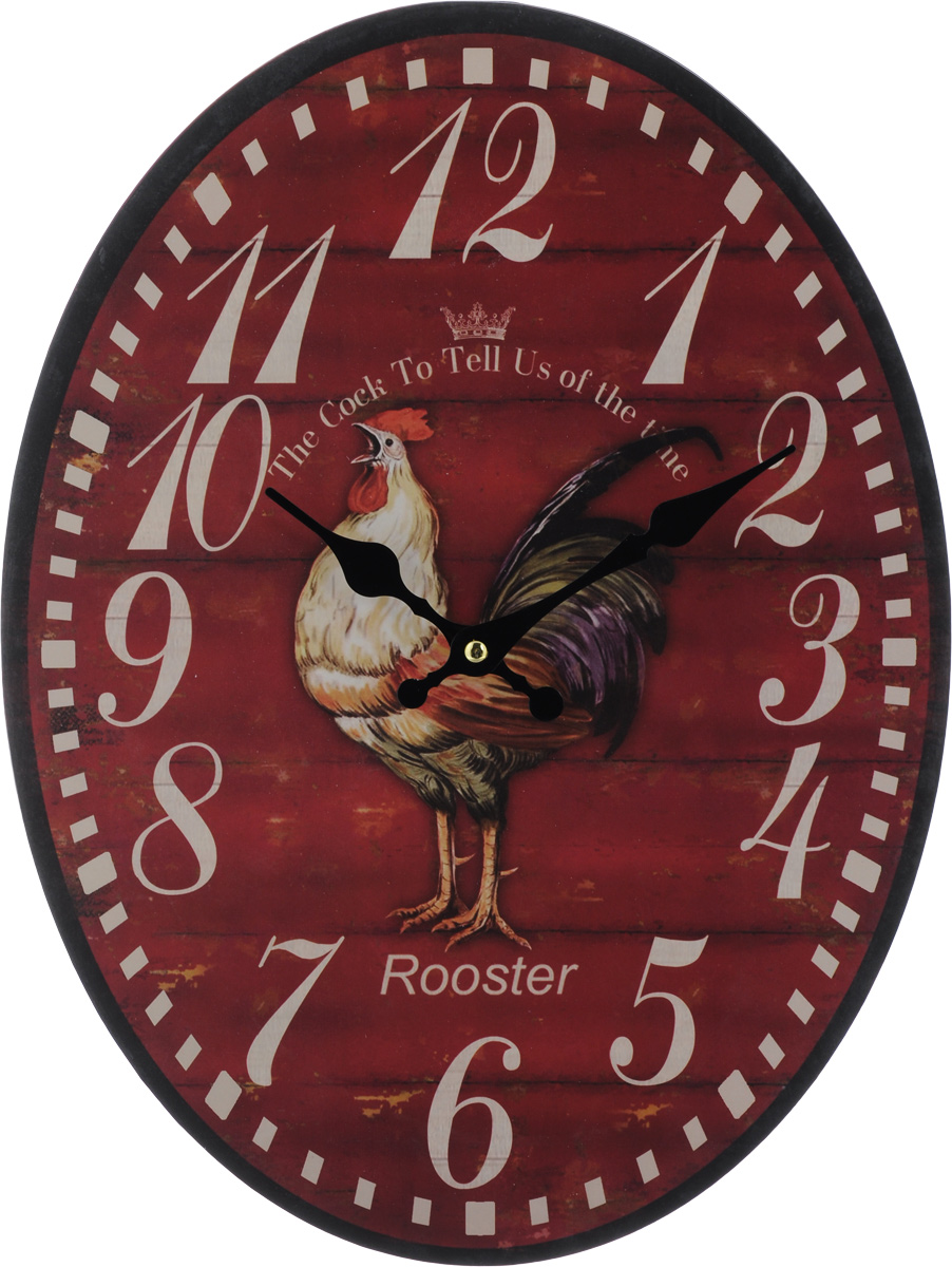 Часы настенные Феникс-Презент Петух, 40 х 32 х 4,5 см40718Настенные часы Феникс-Презент Петух своим эксклюзивным дизайном подчеркнут оригинальность интерьера вашего дома. Циферблат оформлен изображением петуха.Часы выполнены из МДФ. МДФ (мелкодисперсные фракции) представляет собой плиту из запрессованной вакуумным способом деревянной пыли и является наиболее экологически чистым материалом среди себе подобных. Часы имеют две стрелки - часовую и минутную. Настенные часы Феникс-Презент Петух подходят для кухни, гостиной, прихожей или дачи, а также могут стать отличным подарком для друзей и близких.ВНИМАНИЕ!!! Часы работают от сменной батареи типа АА 1,5V (в комплект не входит).