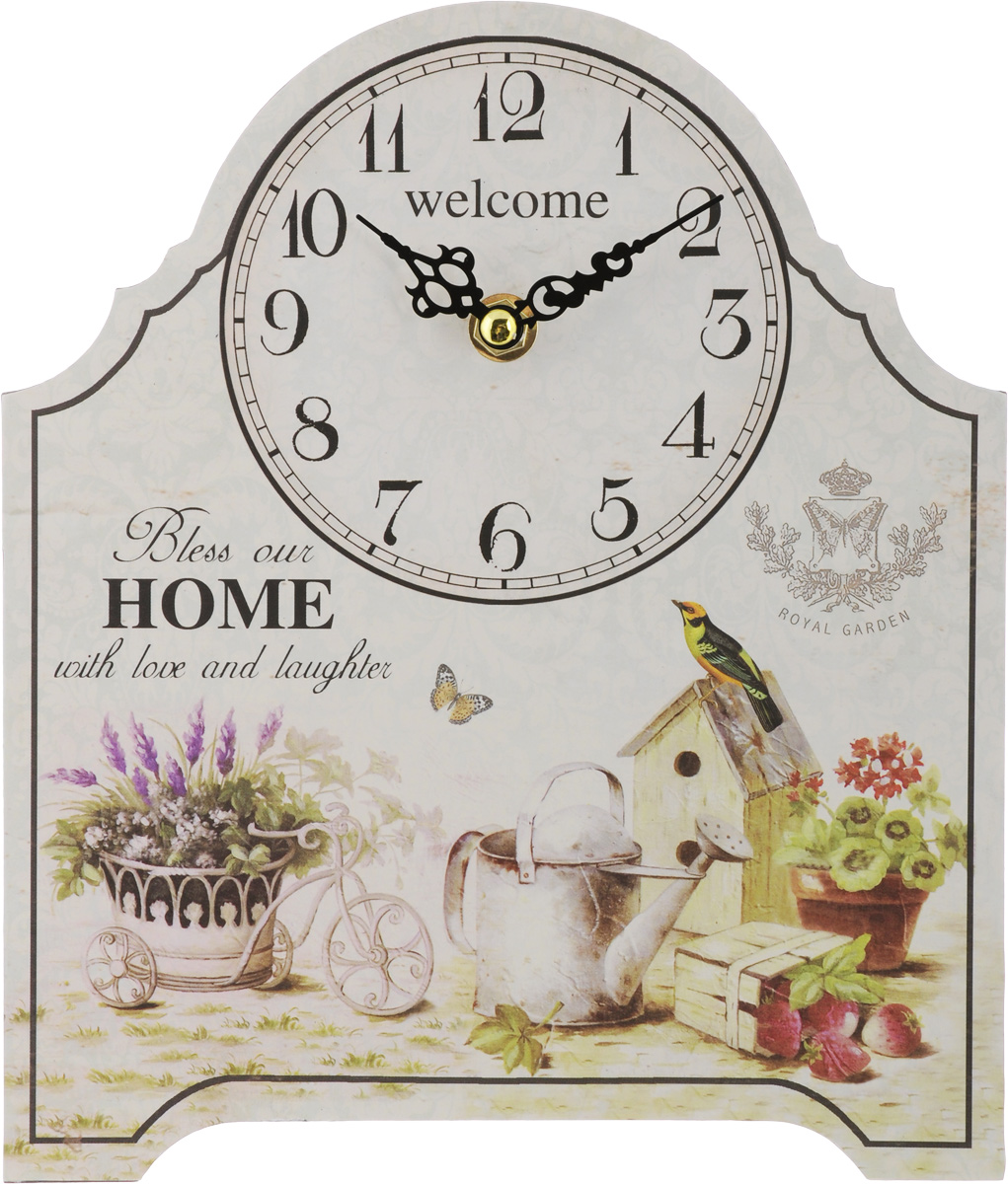 Часы настольные Феникс-Презент Королевский сад, 20 х 24 см40723Настольные часы Феникс-Презент Королевский сад своим эксклюзивным дизайном подчеркнут оригинальность интерьера вашего дома.Часы выполнены из МДФ. МДФ (мелкодисперсные фракции) представляет собой плиту из запрессованной вакуумным способом деревянной пыли и является наиболее экологически чистым материалом среди себе подобных. Часы имеют две стрелки - часовую и минутную.Настольные часы Феникс-Презент Королевский сад подходят для кухни, гостиной, прихожей или дачи, а также могут стать отличным подарком для друзей и близких. ВНИМАНИЕ!!! Часы работают от сменной батареи типа АА 1,5V (в комплект не входит).