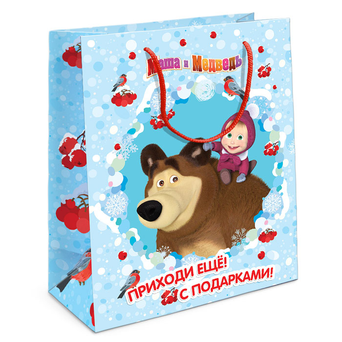 Маша и Медведь Пакет подарочный Маша новогодняя 23 см х 18 см х 10 см -  Подарочная упаковка