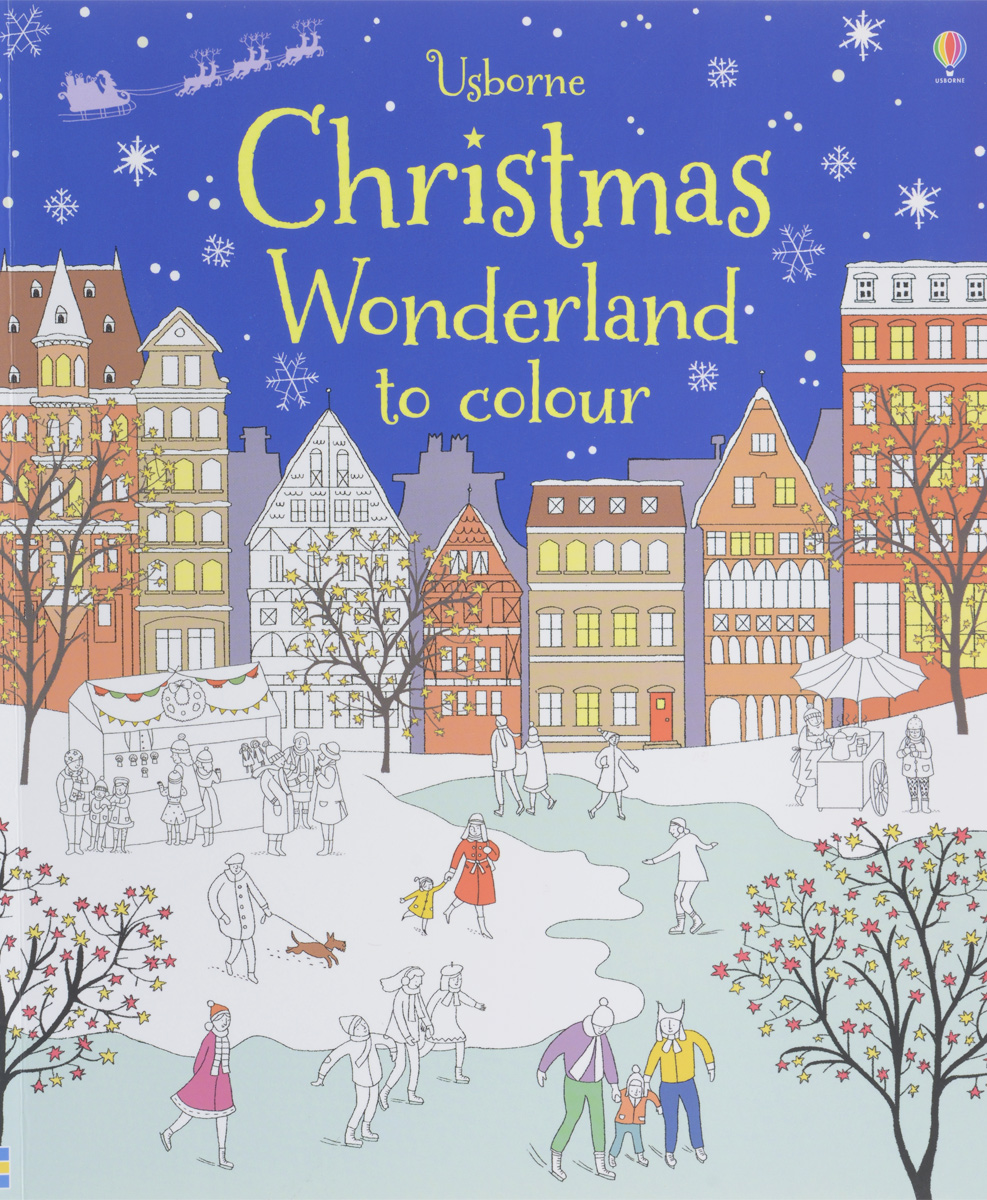 Christmas Wonderland to Colour fold out christmas market to colour