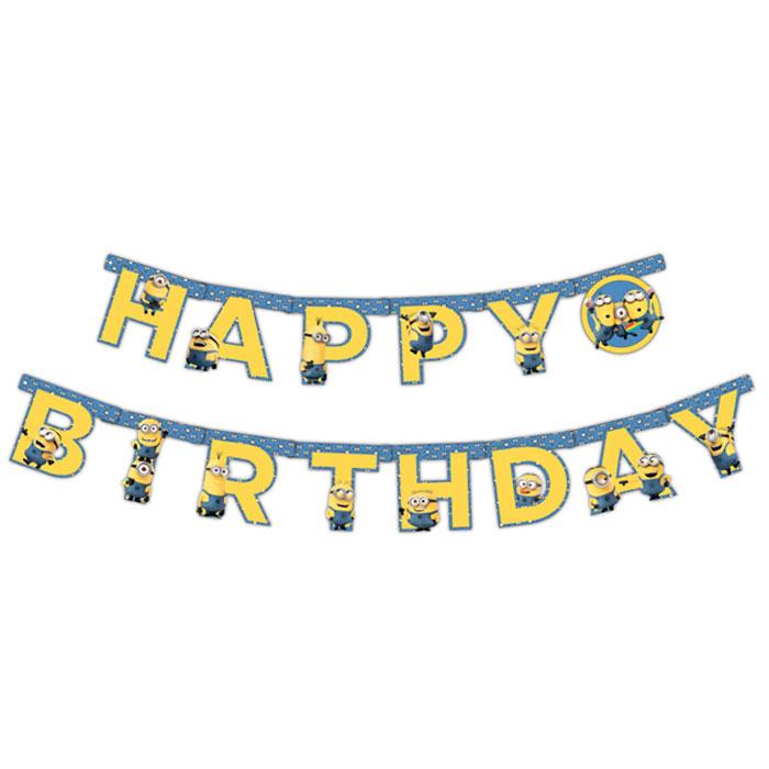 Universal Миньоны Гирлянда C Днем Рождения disney гирлянда детская с блестящим дождиком с днем рождения феи