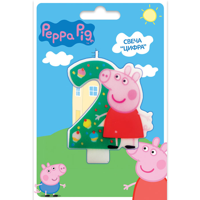 Peppa Pig Свеча для торта Цифра 2 -  Свечи для торта