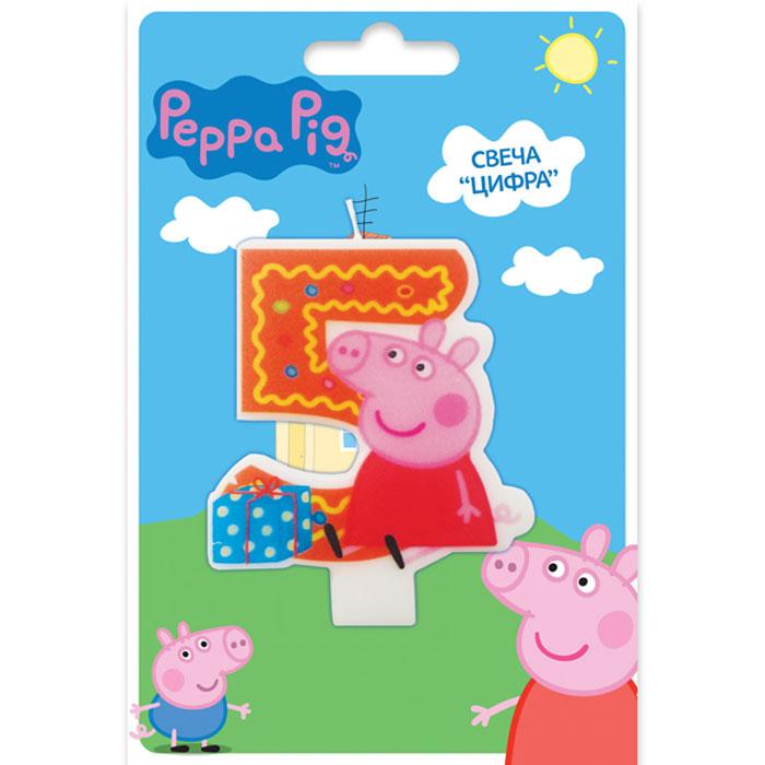 Peppa Pig Свеча для торта Цифра 5 пати бум свеча для торта мини цифра 8