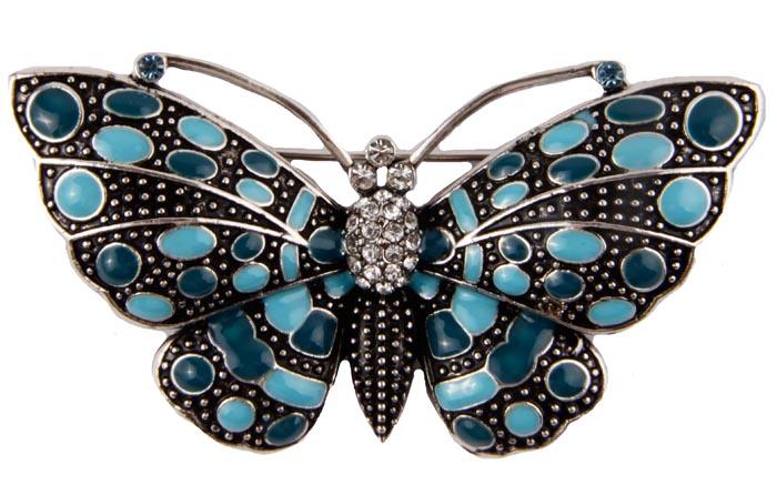 Брошь Голубая бабочка. Бижутерный сплав, кристаллы, эмаль39894|Брошь-камеяБрошь Голубая бабочка.Бижутерный сплав, кристаллы, эмаль.Корея, конец ХХ века. Размер броши 6,5 х 4 см. Сохранность хорошая.Изумительная брошь виде бабочки, украшенная эмалью голубых оттенков.Кристаллы прекрасной ювелирной огранки переливаются при попадании на них лучей света.Чудная брошь как для юных барышень, так и для дам элегантного возраста.