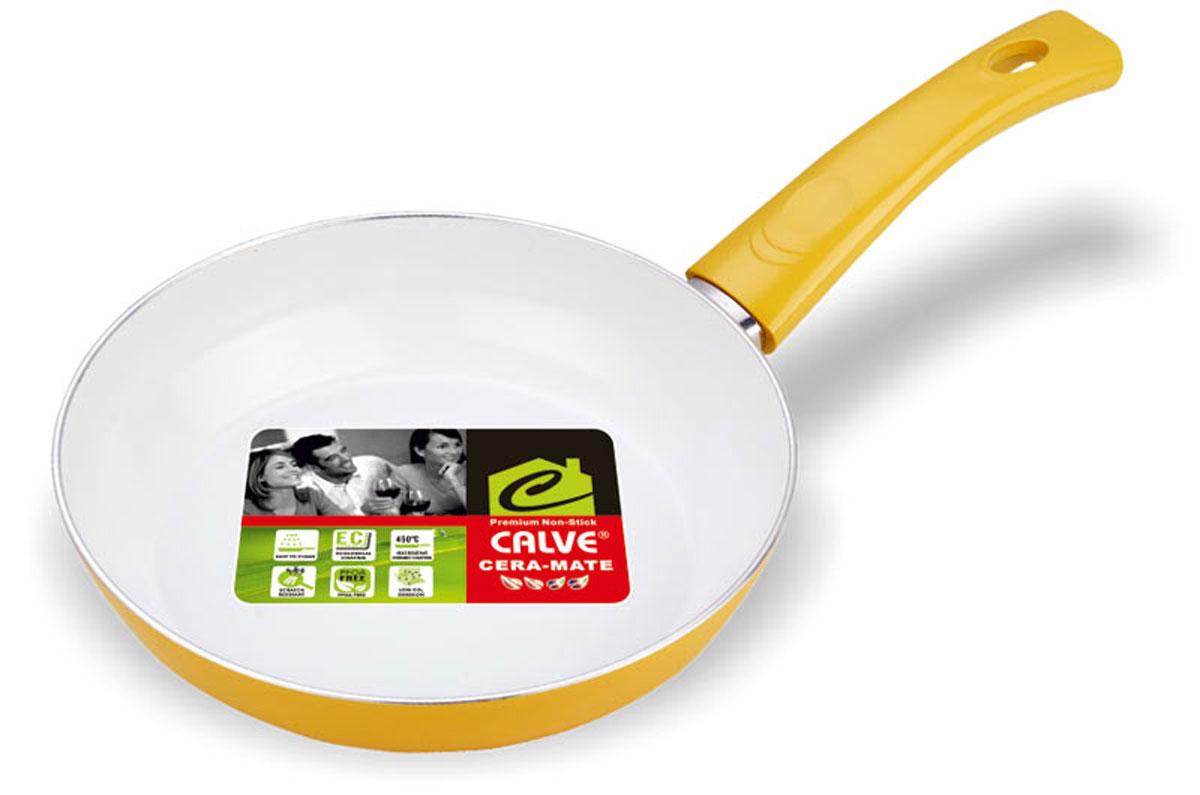 """Сковорода """"Calve"""" выполнена из высококачественного алюминия с керамическим покрытием, благодаря чему пища не пригорает и не прилипает во время готовки. А также изделие имеет внешнее элегантное жаростойкое покрытие. Сковорода оснащена удобной бакелитовой ручкой с отверстием для подвешивания. Подходит для всех типов плит, кроме индукционных. Можно мыть в посудомоечной машине. Диаметр сковороды (по верхнему краю): 24 см. Высота стенки: 5 см. Длина ручки: 17 см. Диаметр основания: 15 см. Толщина стенок: 2,5 мм. Толщина дна: 4 мм."""