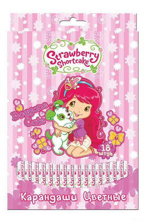 Action! Набор цветных карандашей Strawberry Shortcake 18 цветов цвет упаковки розовыйPDEB-US2-3QP-12Цветные карандаши Action Strawberry Shortcake откроют юным художникам новые горизонты для творчества, а также помогут отлично развить мелкую моторику рук, цветовое восприятие, фантазию и воображение. Традиционный круглый корпус изготовлен из натуральной древесины и оформлен рисунками Strawberry Shortcake на розовом фоне. Карандаши удобно держать в руках, а мягкий грифель не требует сильного нажима. Комплект включает 18 заточенных карандашей ярких насыщенных цветов.