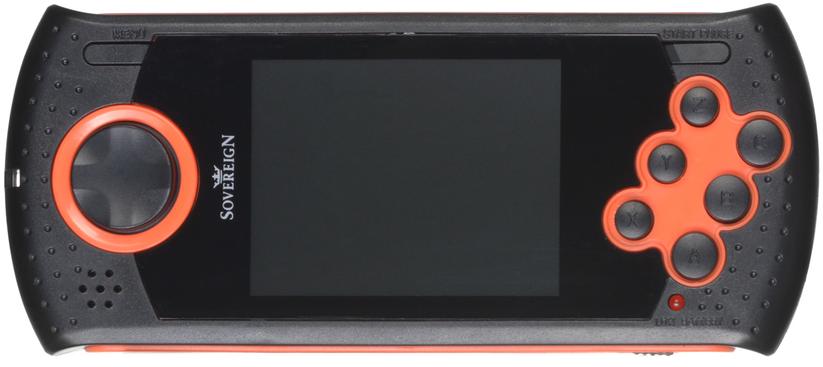 Портативная игровая система DVTech Sovereign 16 бит, черно-оранжевая4601250206011DVTech Sovereign - это современная портативная консоль формата 16-bit, имеет 20 встроенных игр разных жанров. В качестве носителя информации используется карта памяти SD (в комплект не входит), на которую можно самостоятельно записывать ромы игр Sega. Это позволит иметь всегда под рукой большую библиотеку игр, собранных по вашему вкусу. Технические характеристики:Процессор:16-битный. Экран: 2,8 дюйма.AV-выход. Регулировка звука. Питание: Li-Ion аккумулятор. Слот для SD - карты.