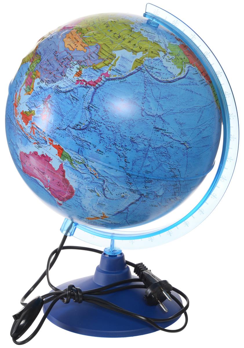 Globen Глобус Земли политический рельефный с подсветкой диаметр 25 смКе022500204_25ммГлобус Земли Globen с политической картой мира выполнен в высоком качестве, с четким и ярким изображением. Он даст представление о политическом устройстве мира. На нем отображены линии картографической сетки, показаны границы государств и демаркационные линии, столицы и крупные населенные пункты, линия перемены дат. Рельеф на глобусе демонстрирует наличие гор и возвышенностей. Глобус легко вращается вокруг своей оси, снабжен пластиковым меридианом с градусными отметками. Подставка изготовлена из пластика. Глобус имеет функцию подсветки от электрической сети. На кабеле питания имеется переключатель.Надписи на глобусе сделаны на русском языке. В комплект входит: глобус, подставка.