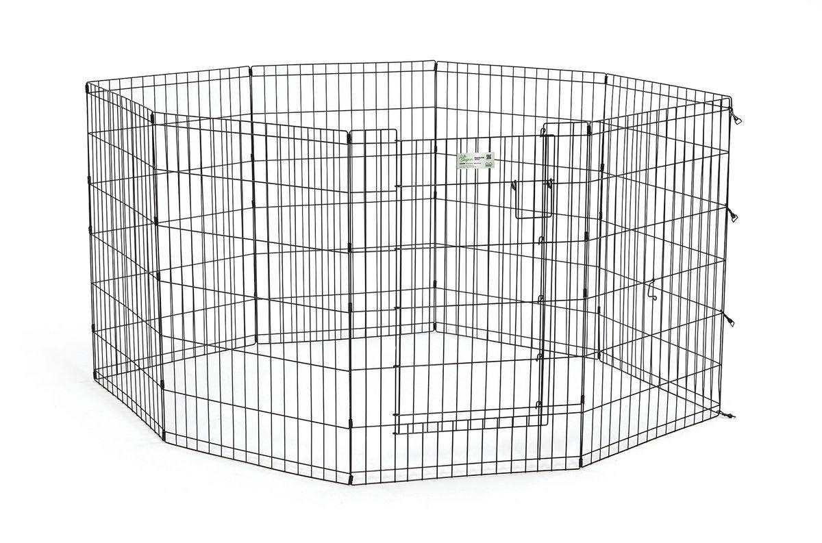 Вольер для животныx Midwest Life Stages, 8 панелей, цвет: черный, 61 x 91 см536DRВольер для животных 8-ми панельный с дверью для использования в помещении и на улице.Запатентованная дверная система MAXLock повышает безопасность, предоставляя множество точек блокировки по периметру двери. Эргономичная ручка-замок позволяет легко и удобно управлять дверью одним движением, без сгибания коленей.Прочное покрытие вольера Electro-Coat обеспечивает долговечную защиту.Вольер легко складывается для удобного хранения и транспортировки, легко собирается, не требуется никаких инструментов или дополнительных деталей. В комплект включены угловые усилители, которые добавляют вес и поддерживают конфигурацию ограждения, они так же могут быть использованы для защиты напольного покрытия, и крепежи, которыми оснащена функциональная безопасная каркасная дверца.Ограниченная площадь:1,5 кв. метра.Возможные конфигурации вольера: квадрат, прямоугольник, восьмиугольник.Вес конструкции: 10,8 кг.Размер одной панели: 61 х 91 см.
