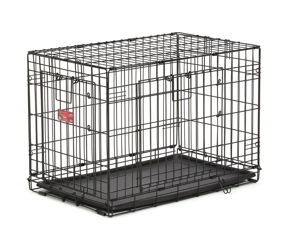 Клетка Midwest Life Stag A.C.E., 2 двери ,78,1 x 50,1 x 54,6 см430DDКлетка Midwest  Life Stag A.C.E. разработана специально для транспортировки средних и крупных собак. Закругленная угловая защита обеспечивает безопасность питомцам и людям. Клетка из нержавеющей стали оснащена: - двумя надежными дверками; - безопасным двойным замком (задвижка закрывает и снаружи и внутри); - прочным пластиковым поддоном, который не повреждает поверхность, на которой размещается; - разделяющей панелью, обеспечивающей создание универсальных отсеков; - качественными ручками для переноски питомца.Размер клетки (ДхШхВ): 78,1 x 50,1 x 54,6 см. Вес конструкции: 7,9 кг.Товар сертифицирован.